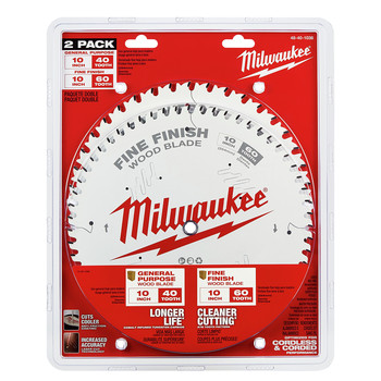 Milwaukee 48-40-1036 10 in. 40T and 60T Two Pack Circular Saw Blades image number 1