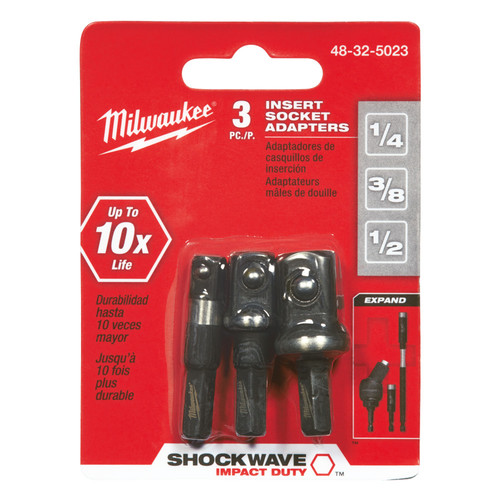 Milwaukee 48-32-5023 SHOCKWAVE 3-Piece Insert Socket Adapter Set