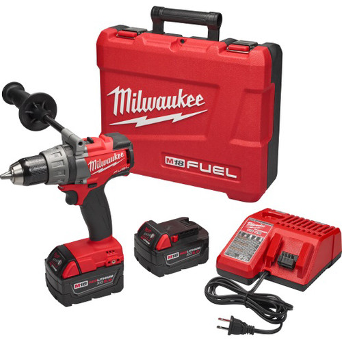 Factory Reconditioned Milwaukee 2703-82 M18 FUEL Cordless Lithium-Ion 1/2 in. Brushless Drill Driver Kit with 2 XC 5.0 Ah Batteries