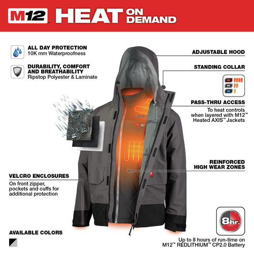 Milwaukee 203RN-21XL M12 3-in-1 Heated AXIS Jacket Kit with Rainshell image number 3