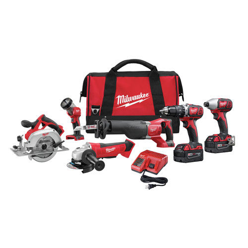 Milwaukee 2696-26 M18 18V Cordless Lithium-Ion 6-Tool Combo Kit