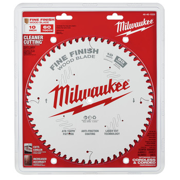 Milwaukee 48-40-1028 10 in. 60T Fine Finish Circular Saw Blade image number 1
