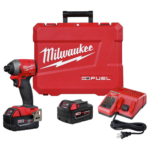 Milwaukee 2853-22 M18 FUEL Compact Lithium-Ion 1/4 in. Cordless Hex Impact Driver Kit (5 Ah) image number 0