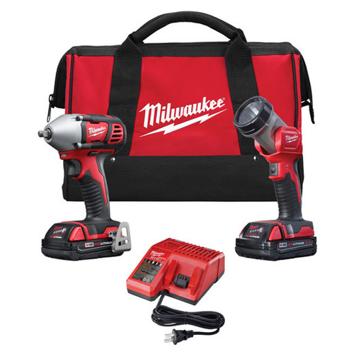 Milwaukee 2693-22 M18 18V Cordless Lithium-Ion 3/8 in. Impact Driver & LED Work Light Combo Kit image number 0