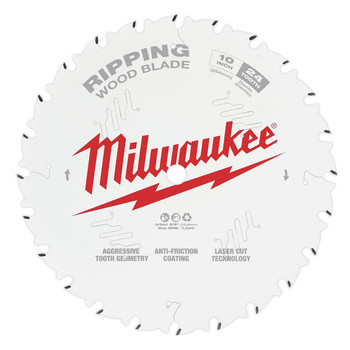 Milwaukee 48-40-1020 10 in. 24T Ripping Circular Saw Blade image number 0