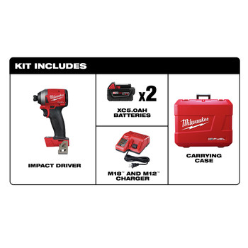 Milwaukee 2853-22 M18 FUEL 1/4 in. Hex Impact Driver XC Kit image number 1