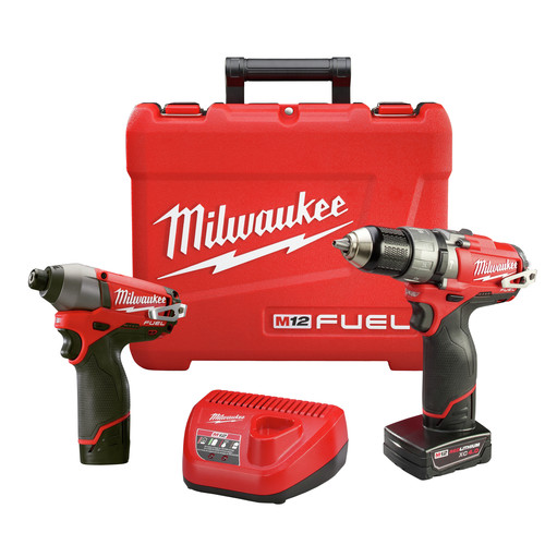 Factory Reconditioned Milwaukee 2597-82 M12 FUEL 12V Cordless Lithium-Ion 1/2 in. Hammer Drill Driver & Impact Driver Combo Kit