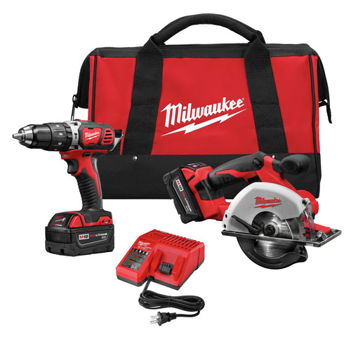 Milwaukee 2698-22 M18 18V Cordless Lithium-Ion 1/2 in. Hammer Drill and Metal Saw Combo Kit