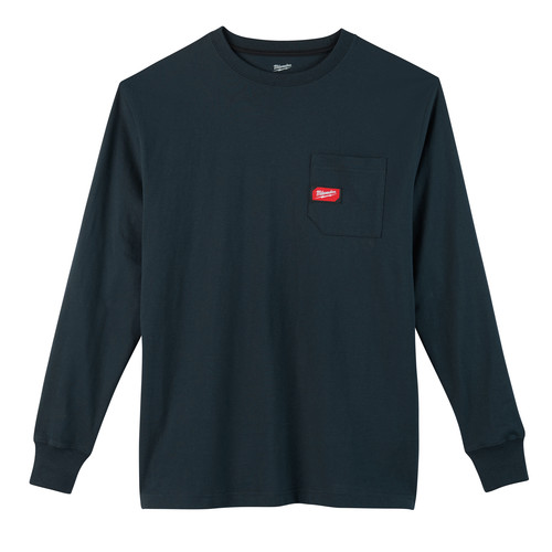 Milwaukee 602BL-2X Heavy Duty Long Sleeve Pocket Tee Shirt - Navy Blue, 2X image number 0