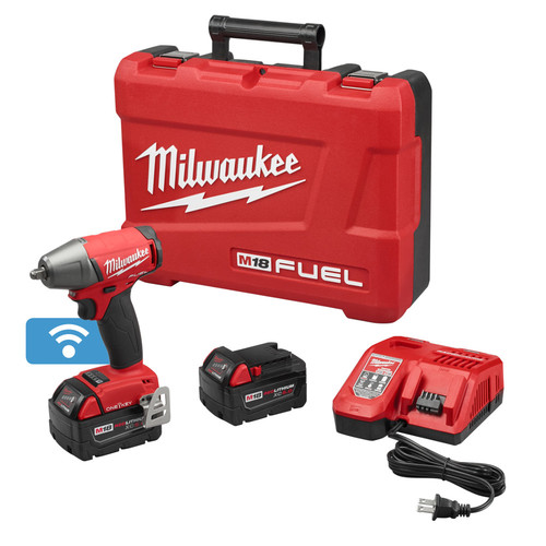 Factory Reconditioned Milwaukee 2758-82 M18 FUEL 18V 5.0 Ah Cordless Lithium-Ion 3/8 in. Compact Impact Wrench Kit with Friction Ring & ONE-KEY Connectivity