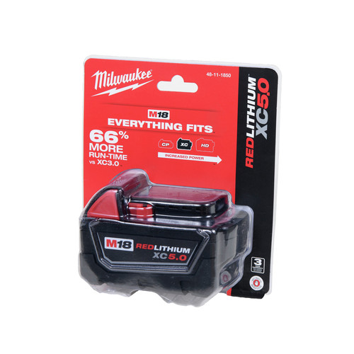 Milwaukee 48-11-1850 M18 REDLITHIUM XC 5 Ah Lithium-Ion Extended Capacity Battery image number 0