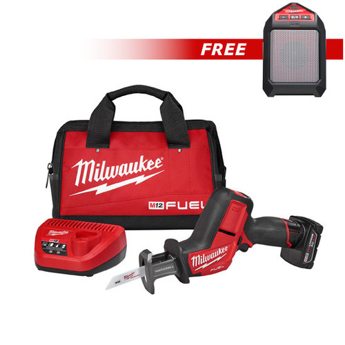 Milwaukee 2520XC-2592-BNDL M12 FUEL 12V Lithium-Ion HACKZALL Recip Saw Kit with XC Battery & FREE M12 Wireless Jobsite Speaker