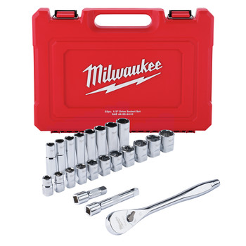 Milwaukee 48-22-9410 22-Piece SAE 1/2 in. Drive Ratchet and Socket Set