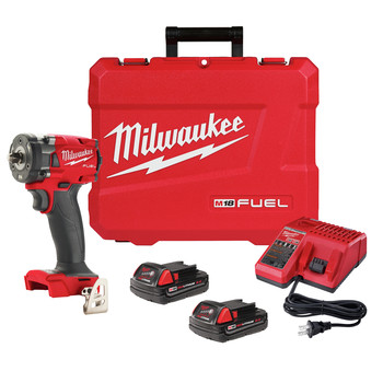 Milwaukee 2854-22CT M18 FUEL Lithium-Ion Brushless Compact 3/8 in. Cordless Impact Wrench Kit with Friction Ring (2 Ah)