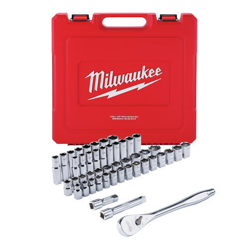 Milwaukee 48-22-9010 47-Piece SAE and Metric 1/2 in. Drive Ratchet and Socket Set image number 0