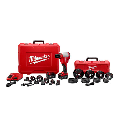 Milwaukee 2676-23 M18 FORCE LOGIC Cordless Lithium-Ion High Capacity Knockout Kit with EXACT 1/2 - 4 in. Knockout Set image number 1