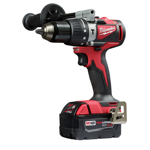 Milwaukee 2902-22 M18 Lithium-Ion Brushless 1/2 in. Cordless Hammer Drill Kit (4 Ah) image number 2