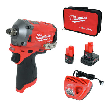 Milwaukee 2555-22 M12 FUEL Stubby 1/2 in. Impact Wrench with Friction Ring Kit image number 0