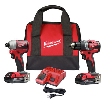 Milwaukee 2892-22CT M18 Brushless Compact Lithium-Ion 1/2 in. Cordless Drill Driver and 1/4 in. Impact Driver Combo Kit (2 Ah)