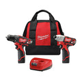 Factory Reconditioned Milwaukee 2494-82 M12 12V Cordless Lithium-Ion 3/8 in. Drill Driver and Impact Driver Combo Kit