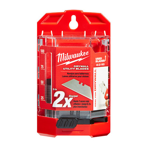 Milwaukee 48-22-1953 Drywall Utility Knife Blades with Dispenser (50-Pack)