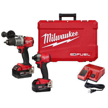 Milwaukee 2996-22 M18 FUEL 1/2 in. Cordless Hammer Drill / 1/4 in. Cordless Impact Driver with ONE-KEY Combo Kit (5 Ah)
