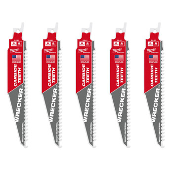 Milwaukee 48-00-5541 5-Piece WRECKER 6 TPI Carbide Teeth 6 in. SAWZALL Multi-Material Blades