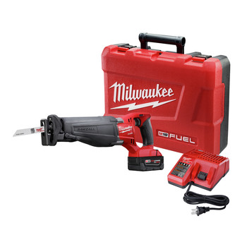 Milwaukee 2720-21 M18 FUEL Cordless Sawzall Reciprocating Saw Kit with (1) 5.0 Ah Battery, Charger and Case