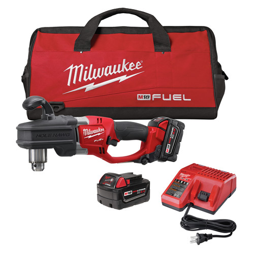 Factory Reconditioned Milwaukee 2707-82 M18 FUEL Cordless Lithium-Ion HOLE HAWG 1/2 in. Right Angle Drill Kit