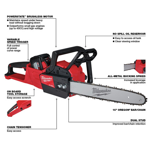 Milwaukee 2727-21HD M18 FUEL 16 in. Chainsaw Kit image number 14