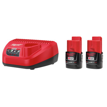 Milwaukee 48-11-2432P M12 REDLITHIUM CP 3 Ah Lithium-Ion Compact Battery (2-Pack) and Charger Kit