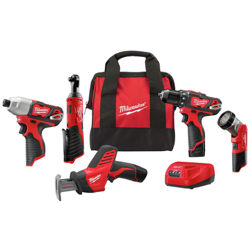 Milwaukee 2498-25 M12 Cordless Lithium-Ion 5-Tool Combo Kit image number 0