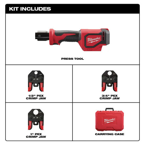 Milwaukee 2674-22C M18 Short Throw Press Tool Kit with PEX Crimp Jaws image number 1