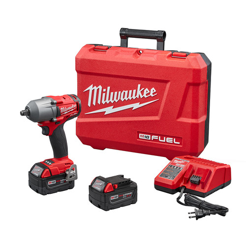 Factory Reconditioned Milwaukee 2861-82 M18 FUEL Lithium-Ion 1/2 in. Mid-Torque Impact Wrench Kit with Friction Ring Anvil image number 0