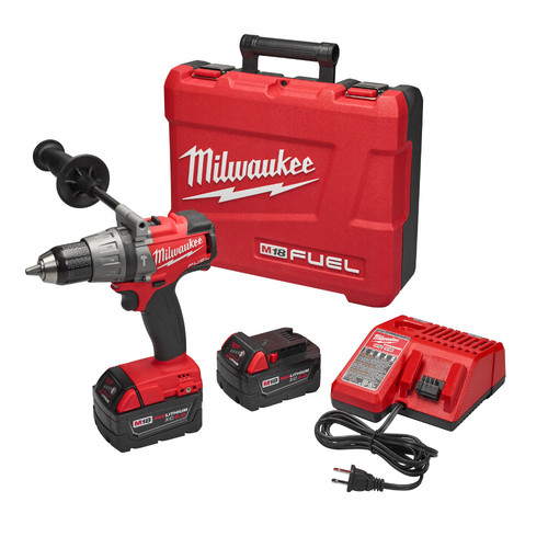 Milwaukee 2704-22 M18 FUEL 18V 5.0 Ah Cordless Lithium-Ion 1/2 in. Hammer Drill Driver Kit