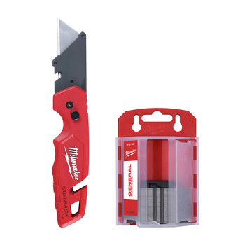 Milwaukee 48-22-1504 FASTBACK Folding Utility Knife with Blade Storage and 50-Piece General Purpose Utility Blade Set