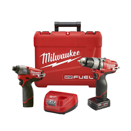 Factory Reconditioned Milwaukee 2594-82 M12 FUEL Cordless Lithium-Ion 1/2 in. Drill Driver & Impact Driver Combo Kit