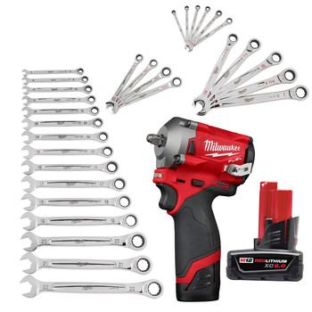 Milwaukee 2554-23-CPO M12 FUEL Stubby 3/8 in. Impact Wrench Kit plus M12 REDLITHIUM XC 6 Ah Lithium-Ion Battery plus Metric/SAE Ratcheting Combination Wrench Sets