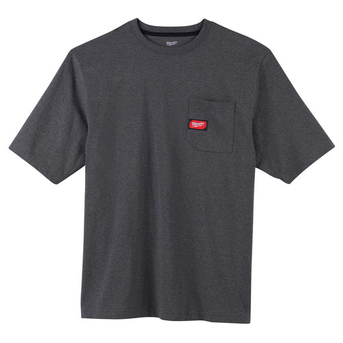 Milwaukee 601G-S Heavy Duty Short Sleeve Pocket Tee Shirt - Gray, Small image number 0