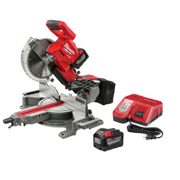 Factory Reconditioned Milwaukee 2734-81HD M18 FUEL 9.0 Ah Cordless Lithium-Ion 10 in. Dual Bevel Sliding Compound Miter Saw image number 1