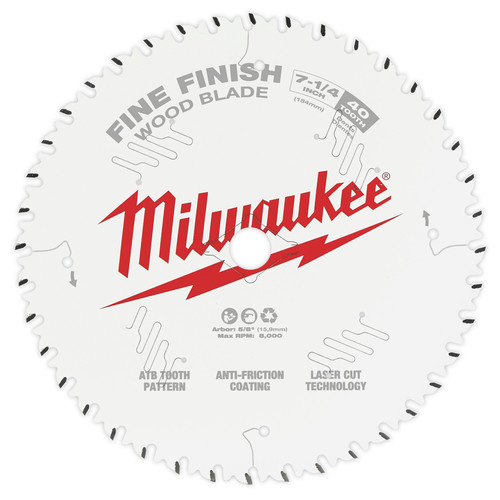 Milwaukee 48-40-0726 7-1/4 in. 40T Fine Finish Circular Saw Blade image number 0