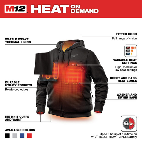 Milwaukee 302B-20L M12 12V Li-Ion Heated Hoodie (Jacket Only) - Large image number 3