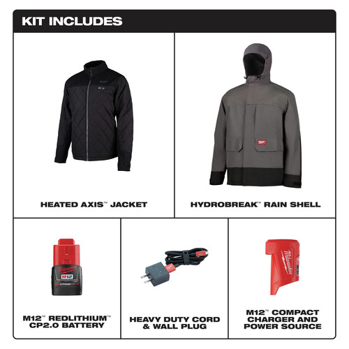 Milwaukee 203RN-21XL M12 3-in-1 Heated AXIS Jacket Kit with Rainshell image number 1