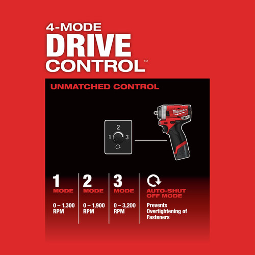 Milwaukee 2552-22 M12 FUEL Stubby 1/4 in. Impact Wrench Kit image number 11