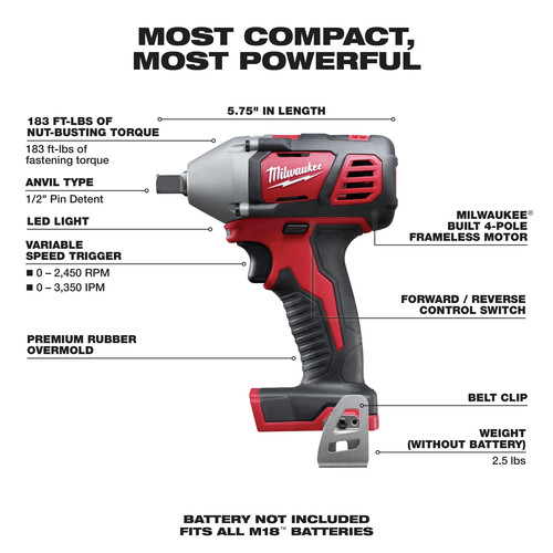 Milwaukee 2659-20 M18 Lithium-Ion 1/2 in. Impact Wrench with Pin Detent (Tool Only) image number 1