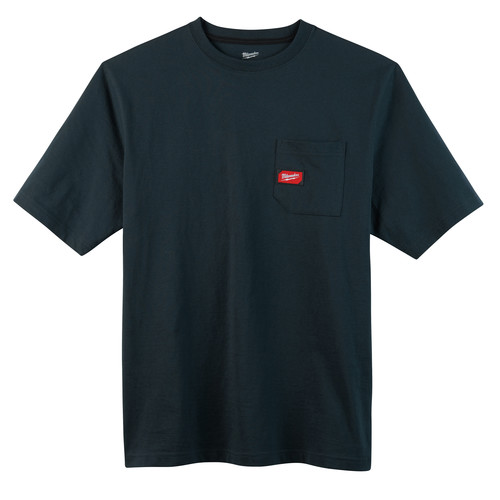 Milwaukee 601BL-M Heavy Duty Short Sleeve Pocket Tee Shirt - Navy Blue, Medium image number 0