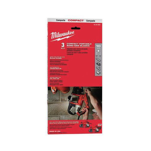 Milwaukee 48-39-0509 10 TPI Compact Portable Band Saw Blade (3-Pack) image number 0