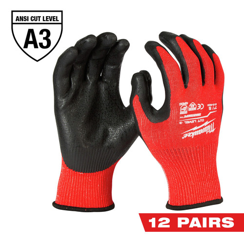 Milwaukee 48-22-8931B 12-Pair Cut-Resistant Cut Level 3 Dipped Gloves - Medium image number 0