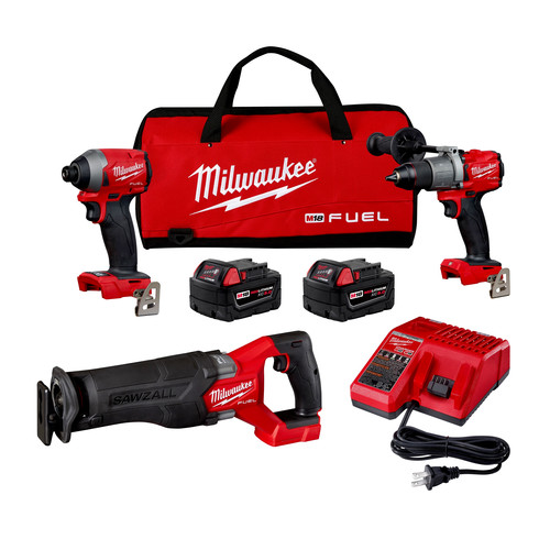Milwaukee 2998-23 M18 FUEL Brushless Lithium-Ion Cordless 3-Tool Combo Kit (5 Ah) image number 0