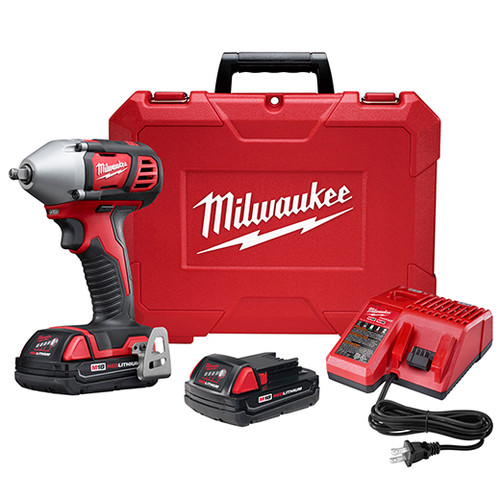 Factory Reconditioned Milwaukee 2658-82CT M18 Cordless Lithium-Ion 3/8 in. Impact Wrench Kit with Friction Ring